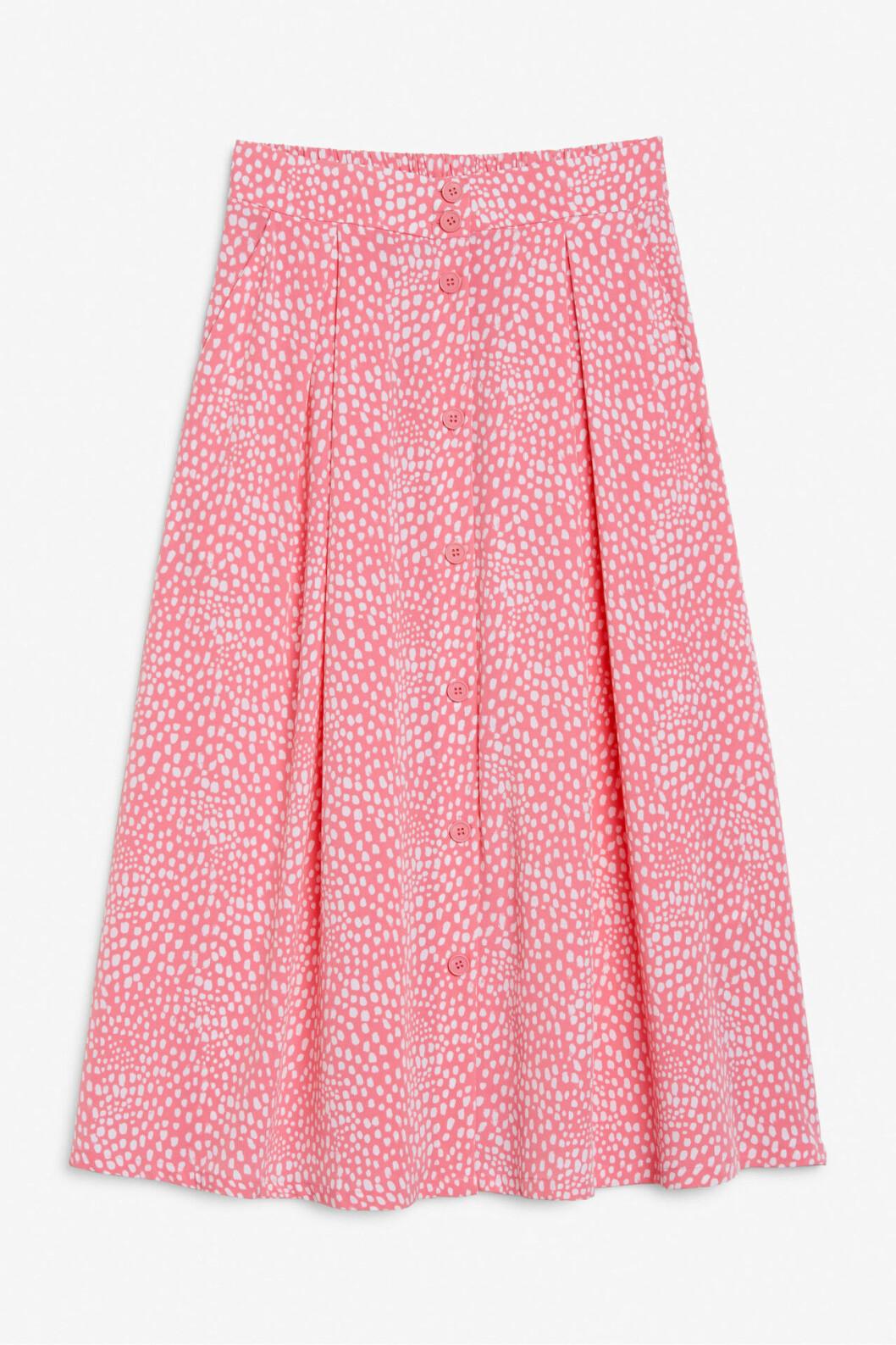 Rosa mönstrad kjol med knappar för dam till 2020