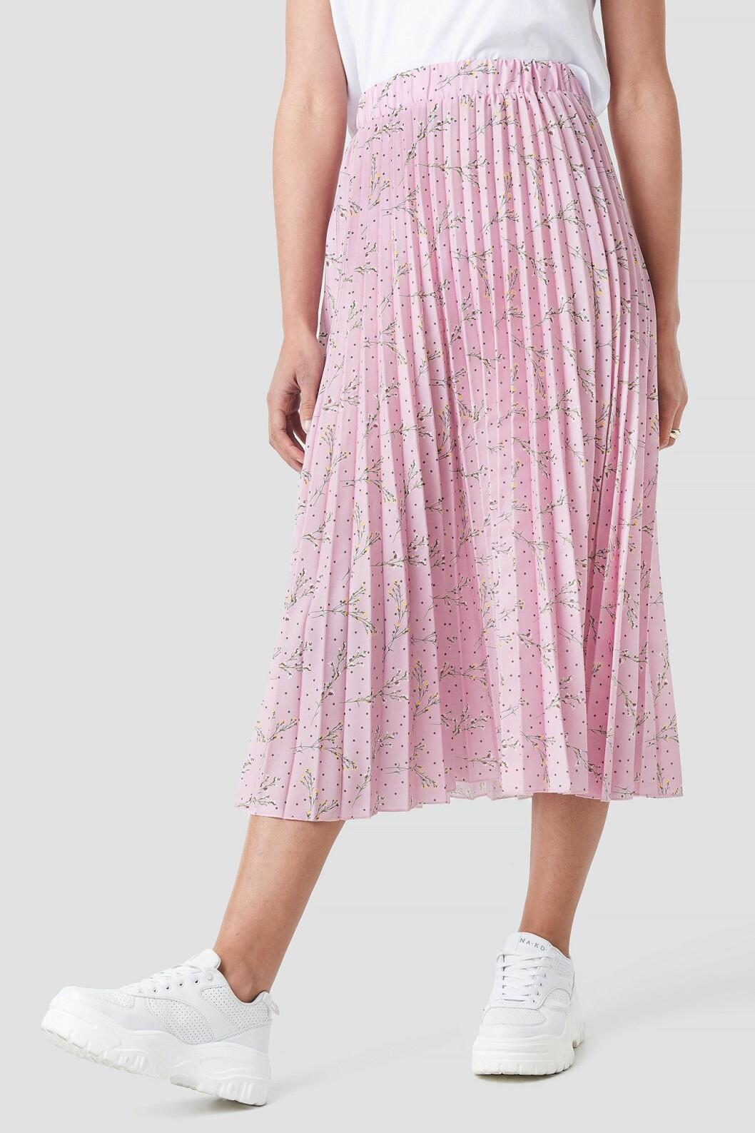 Rosa plisserad kjol i midilängd för dam till 2020
