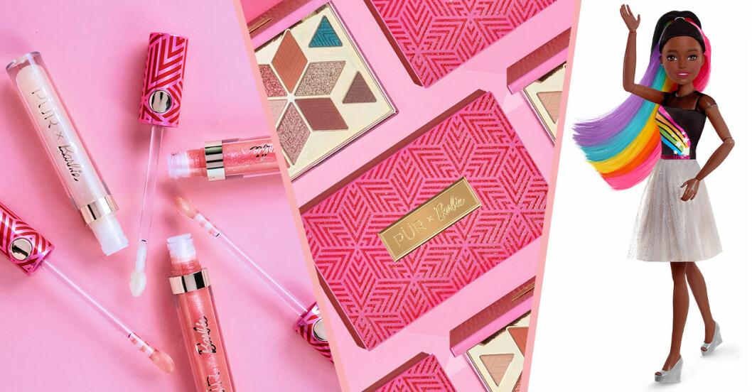 rosa smink och läppglans