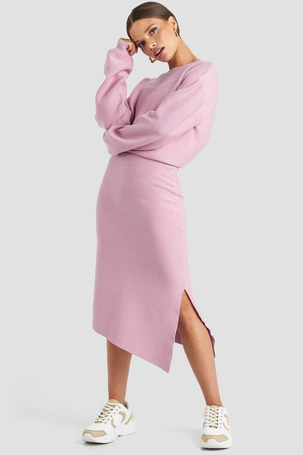 Rosa stickad kjol för dam till 2019