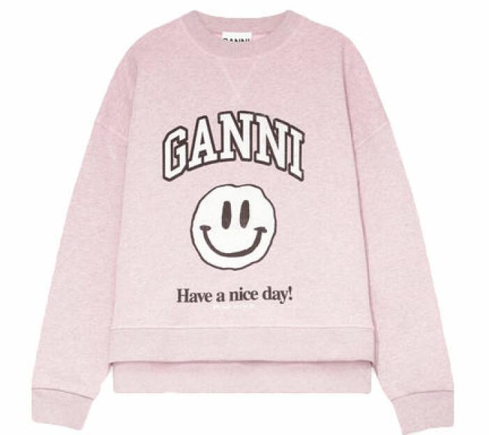 Rosa tröja med tryck från Ganni