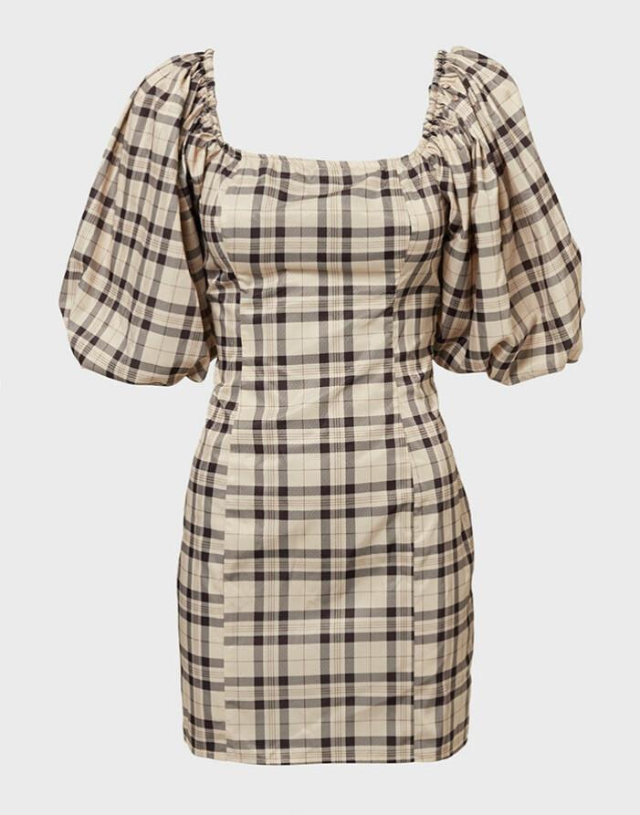 Rutig kjol med puffärm från NLY Trend
