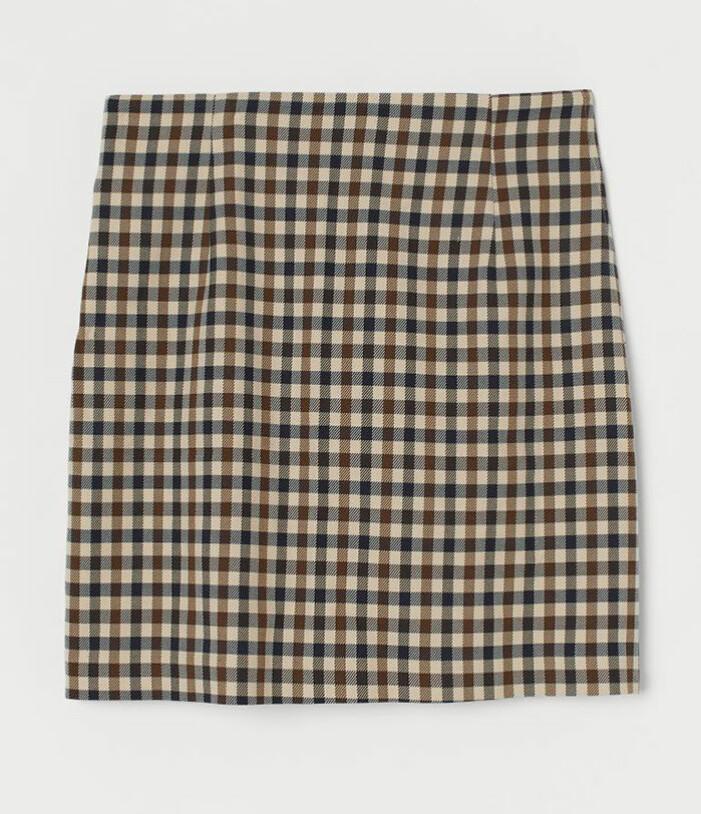 Rutig kort kjol H&M