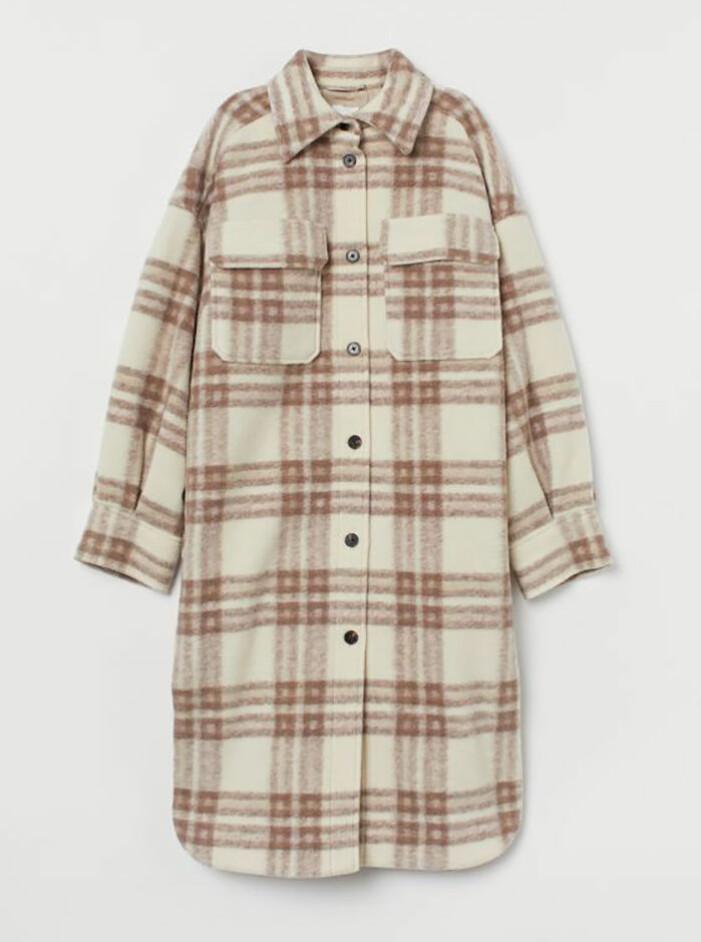Rutig lång jacka från H&M