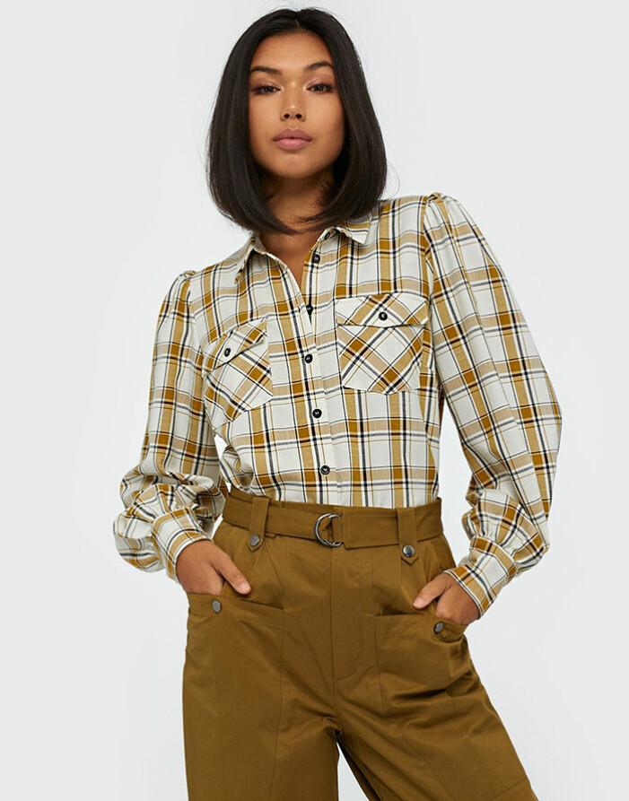 Rutig skjorta med puffärm från Gestuz