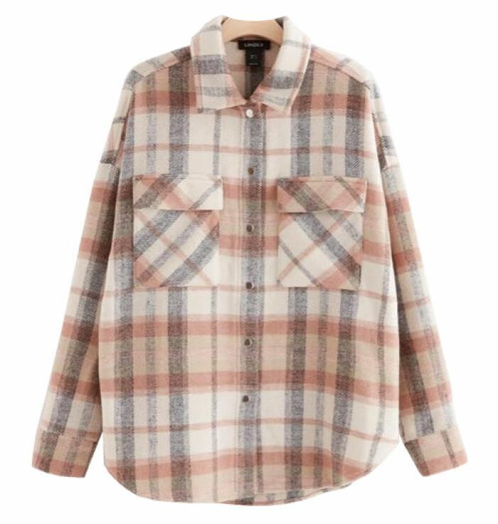 rutig skjortjacka lindex rosa