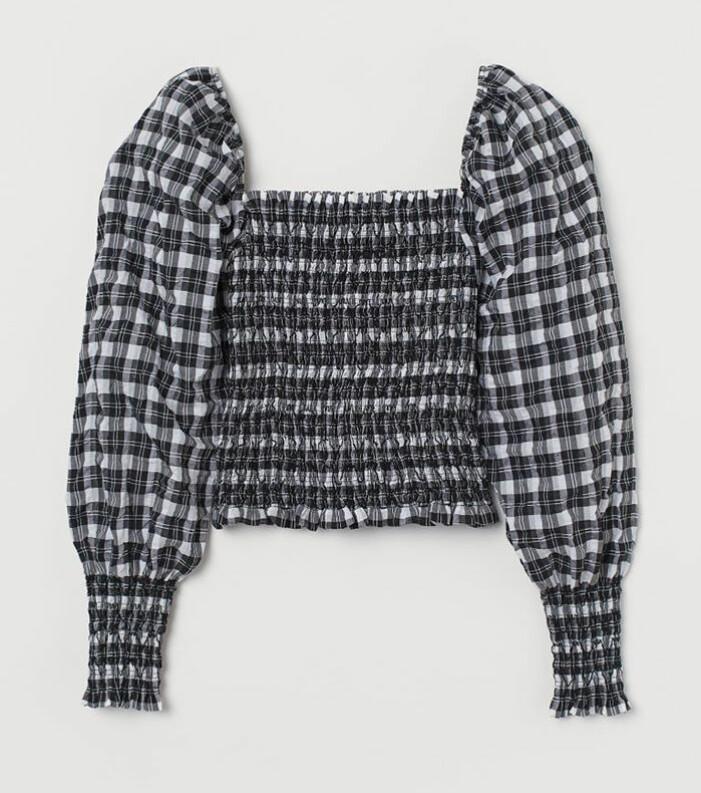 Rutig smockad blus H&M