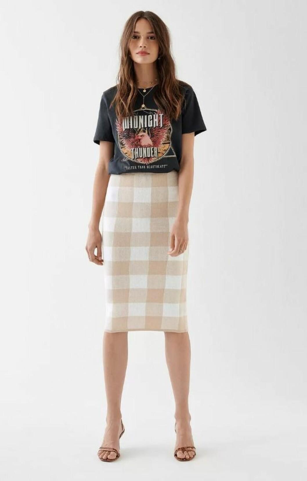 Rutig stickad kjol för dam till 2019
