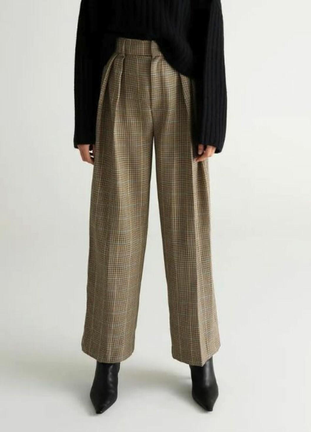 Rutiga kostymbyxor med hög midja för dam till våren 2020