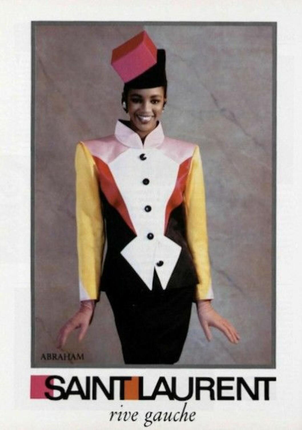 """Vintagekampanj med Naomi Campbell från 1988. Notera att prefixet """"Yves"""" inte fanns med."""
