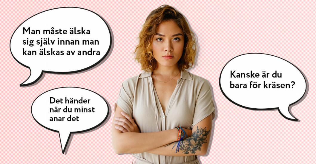 Ung kvinna typiska fraser om singlar