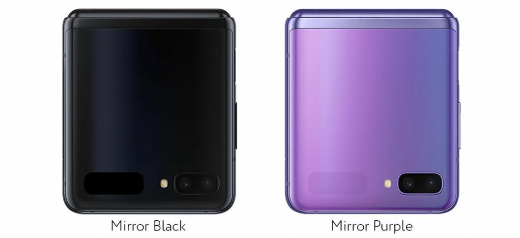 Samsung Galaxy Z Flip kommer i färgerna Mirror Black och Mirror Purple.