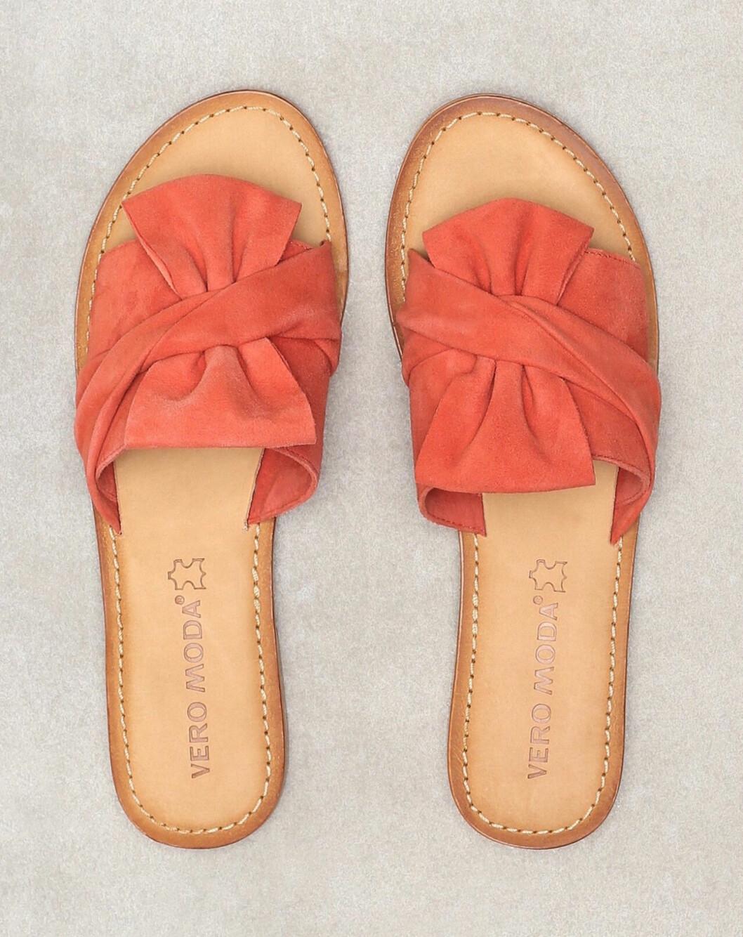 Röda sandaler med rosett för dam till 2019