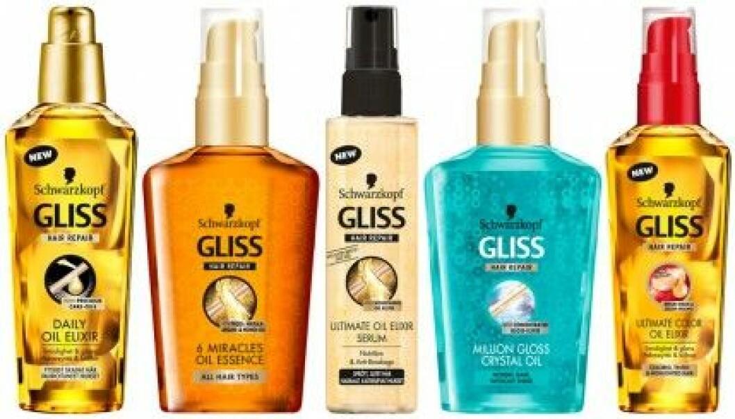 Schwarzkopf Gliss håroljor kostar ca 80 kr och finns för alla olika hårtyper.