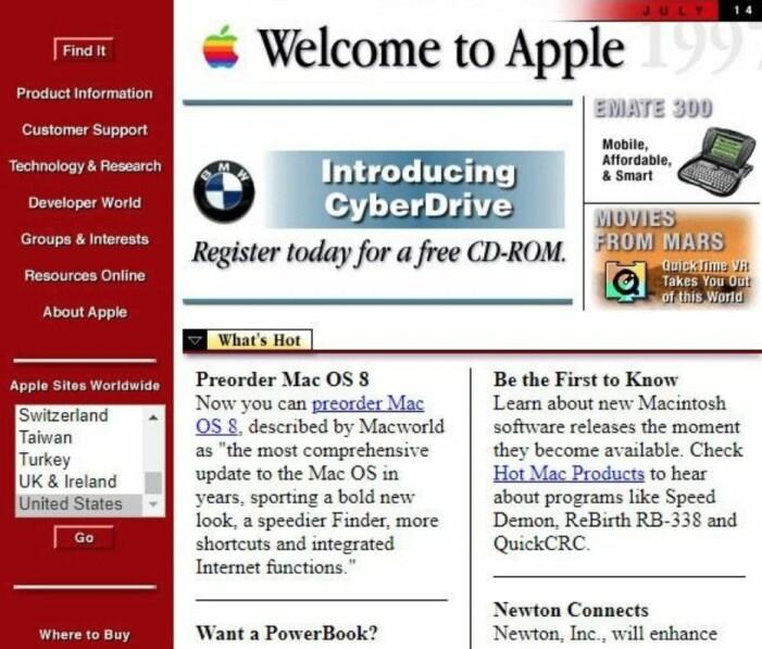apple hemsida 90-tal