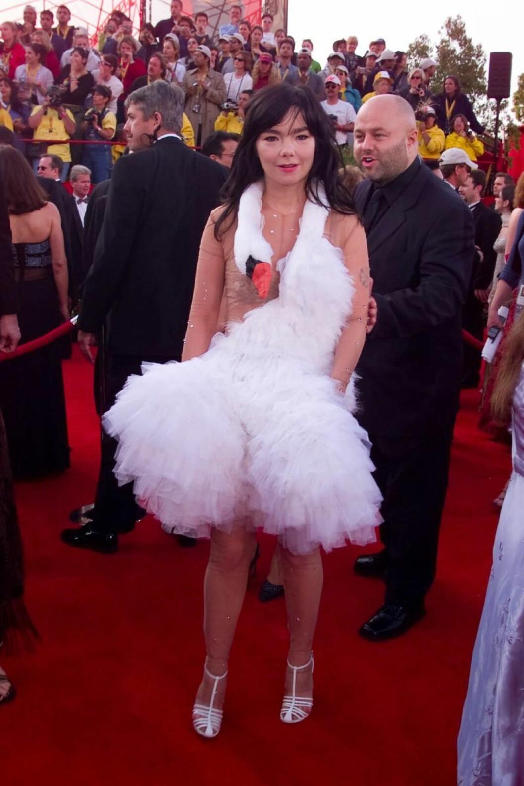 Björk i en klänning som ser ut som en svan, där svanhuvudet vilar runt hennes nacke.