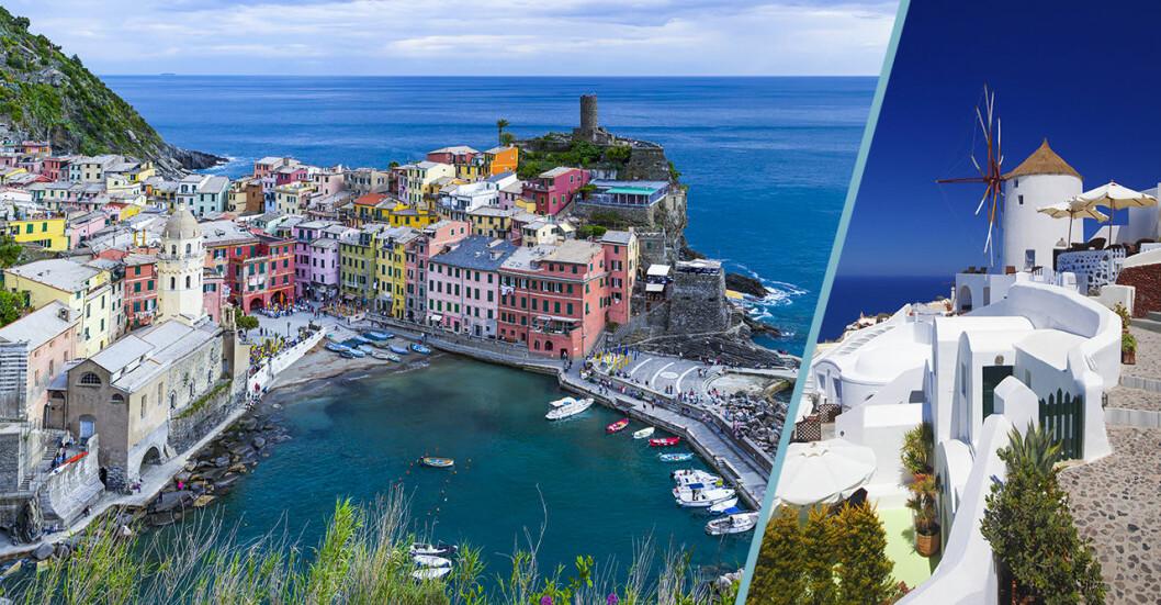 Cinque Terre i Italien och Oia på Santorini i Grekland