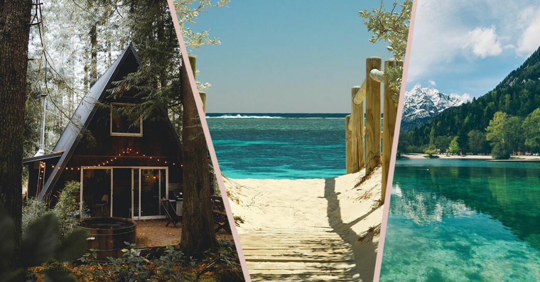 Stuga i skogen, strand och sjö vid berg