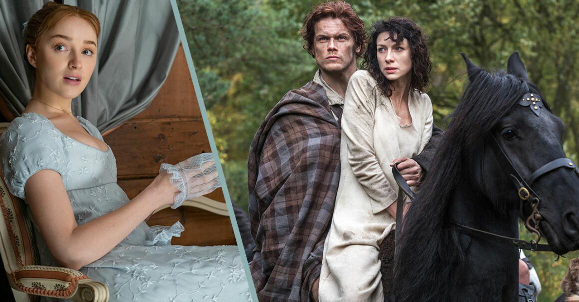 Bilder från serierna Familjen Bridgerton och Outlander