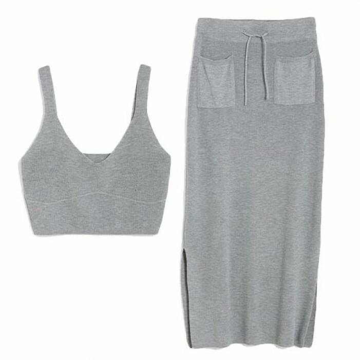 Stickat grått set med kjol från KappAhl