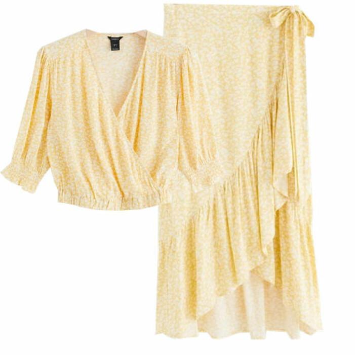 Gult set med blus och kjol från Lindex
