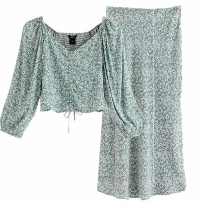 Matchande set med blus och kjol från Lindex