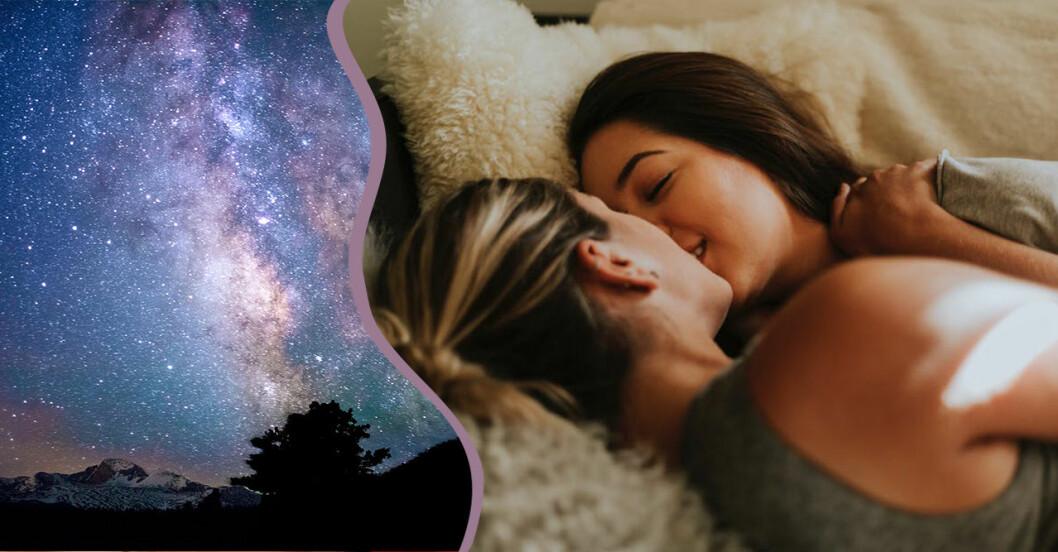 natthimmel och par som kysser varandra
