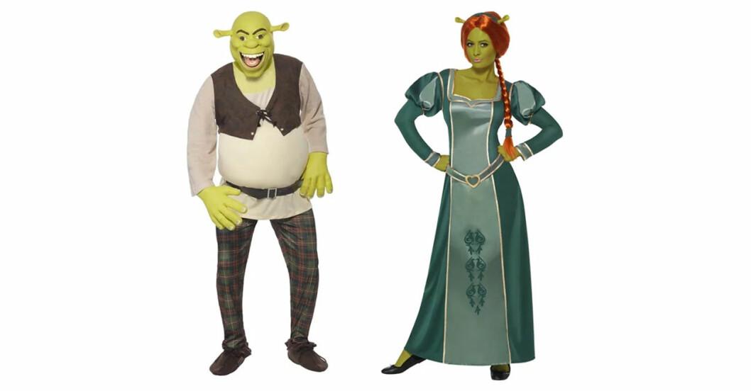 Halloweendräkt med Shrek och Fiona