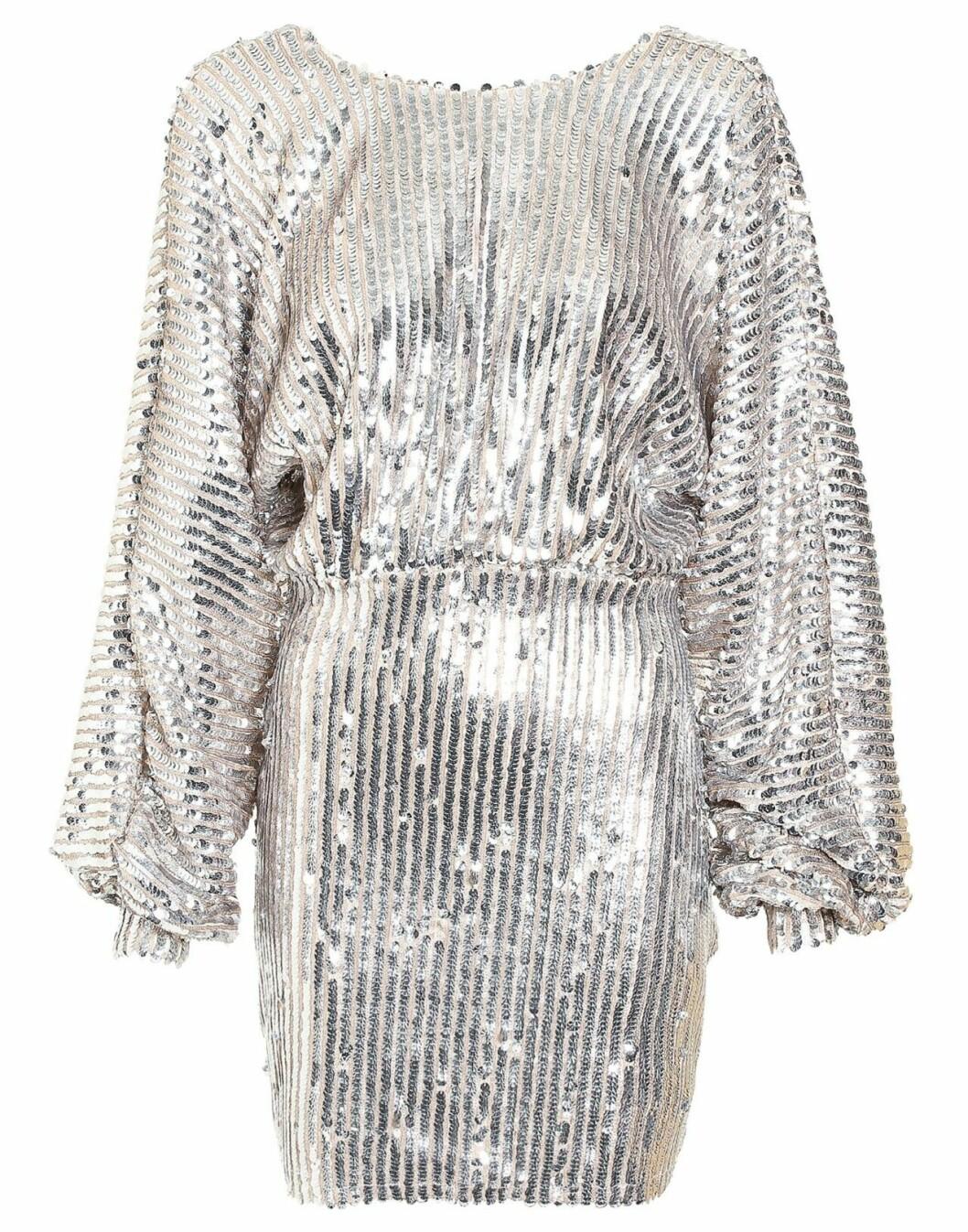 Silverfärgad paljettklänning för julfesten och julbordet