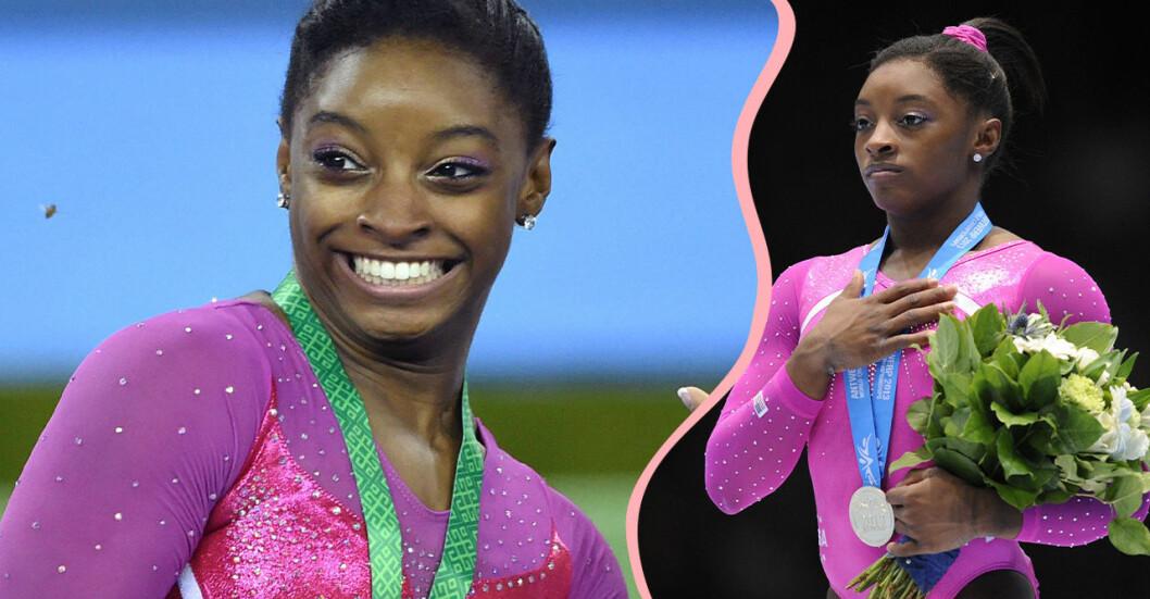Simone Biles, gymnasten som hyllas för sitt mot kring psykisk ohälsa och sexuella övergrepp.