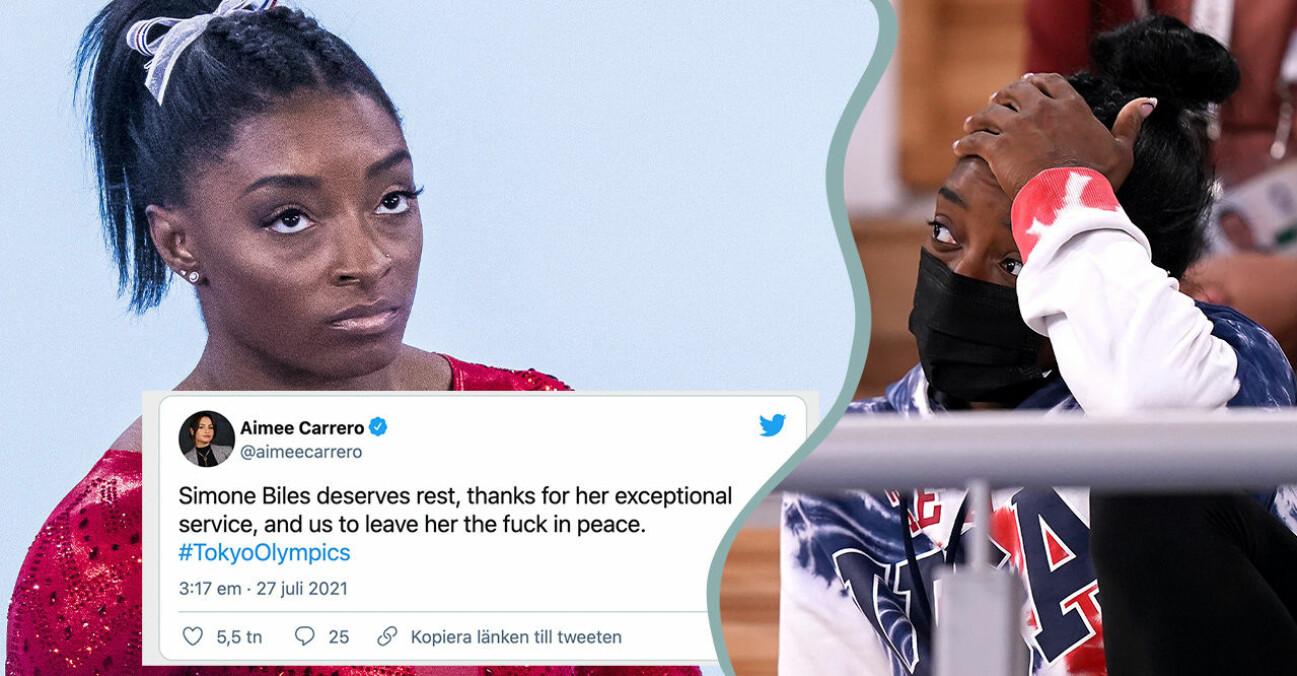Gymnasten Simone Biles som hoppat av OS på grund av psykisk ohälsa efter sexuella övergrepp.