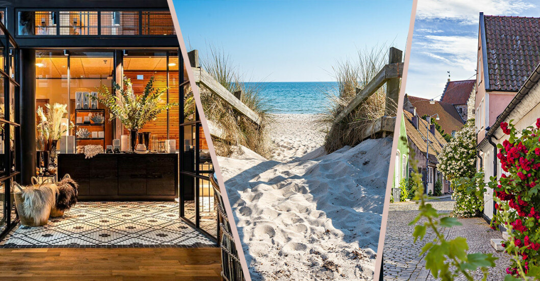 Hotell Skansen, strand och kullerstensgata med rosor