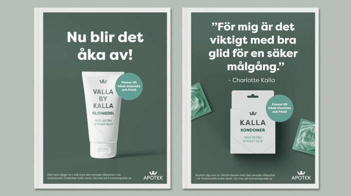 reklambilder för Charlotte Kalla kondomer och glidmedel.