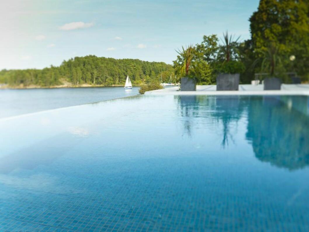 Kanten av en pool med utsikt över havet och massa skog