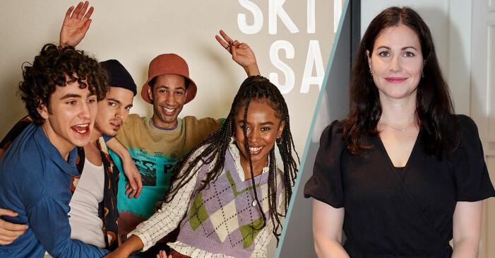 Nour El Refais och skådespelarna i serien Skitsamma.