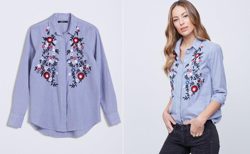 skjorta broderade blommor gina tricot