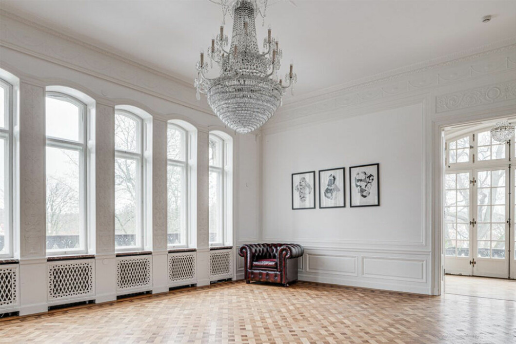 Matsal i slottsliknande hus i Göteborg