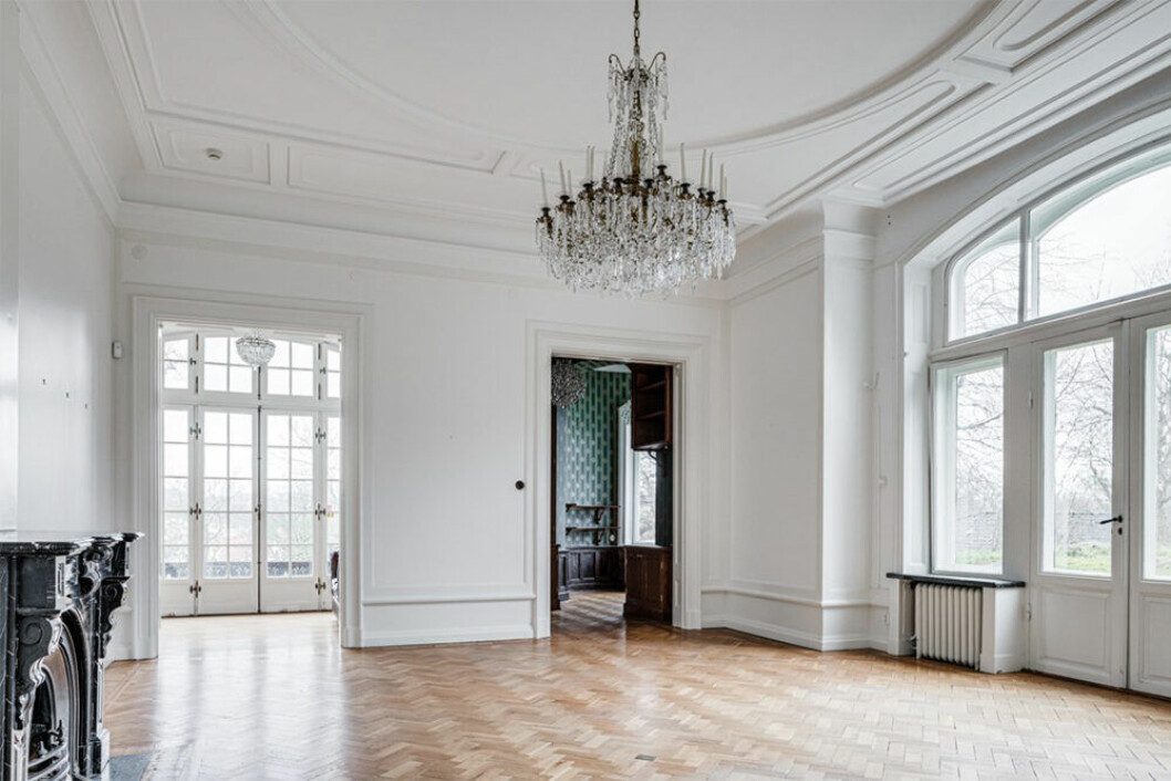 Salong från 1800-talet i hus i Göteborg