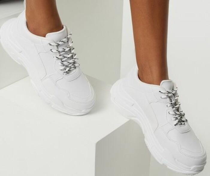 Vita sneakers i chunky modell
