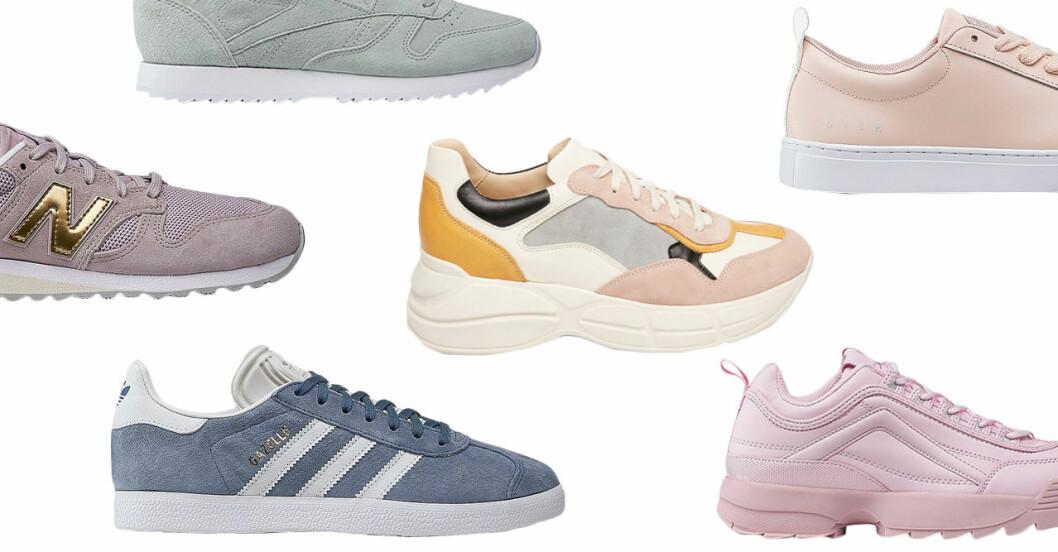 Sneakers i pastell till dam till våren 2019