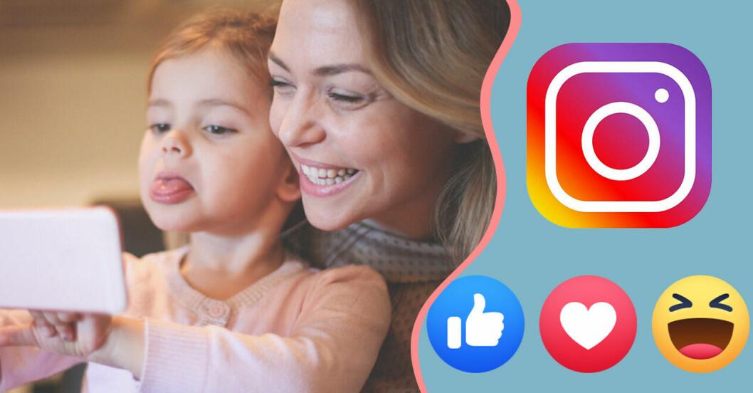 Barn med förälder tar bild till sociala medier.