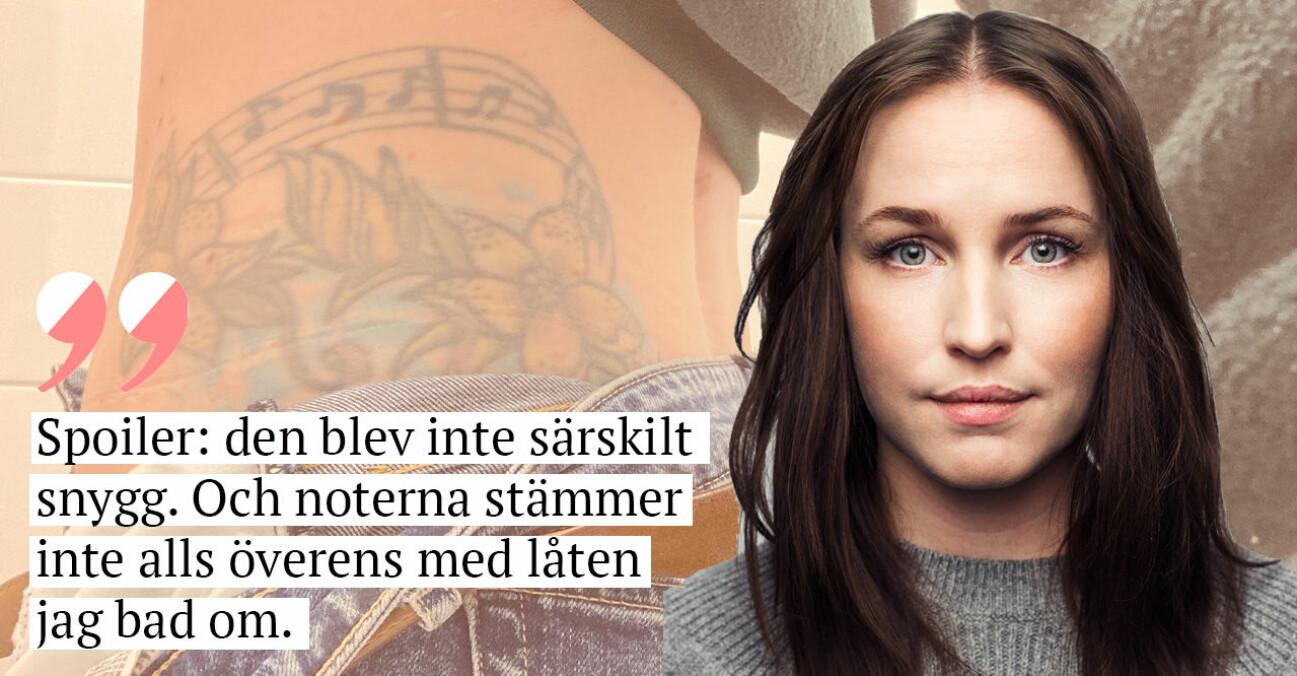 Sofia Börjesson och hennes misslyckade tatuering.