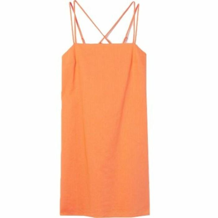 Orange klänning i linne från H&M