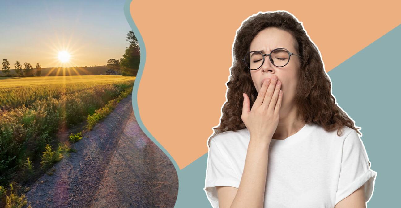 Ung trött kvinna som påverkas negativt av att ställa om till sommartid.