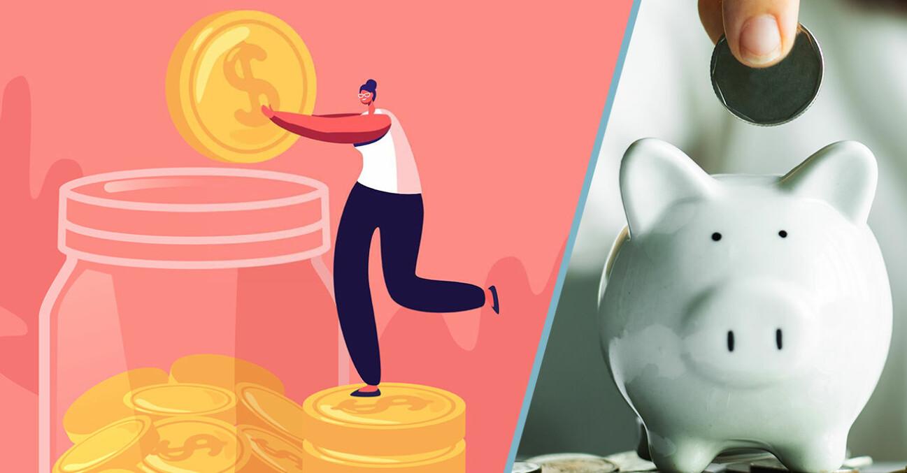 Vänster: En tecknad person som sparar pengar. Höger: En spargris