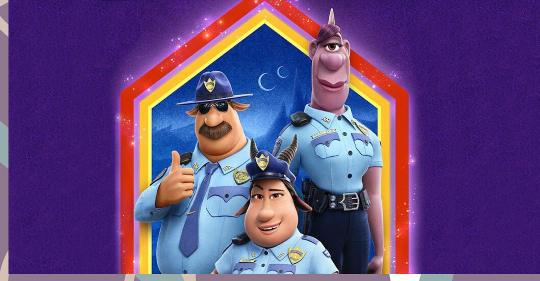 Poliserna i Disneys Framåt framför en lila bakgrund
