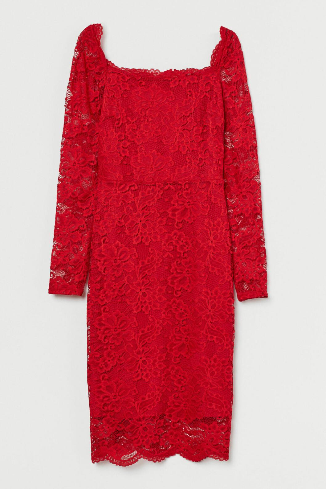 Röd spetsklänning till julafton för dam till 2019