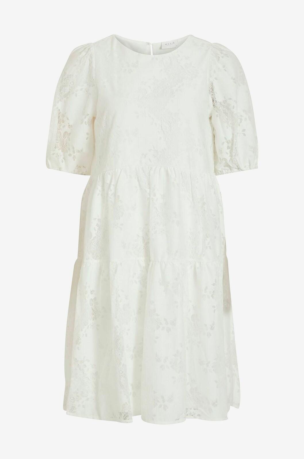 Vit enkel brudklänning med spets och puffärm