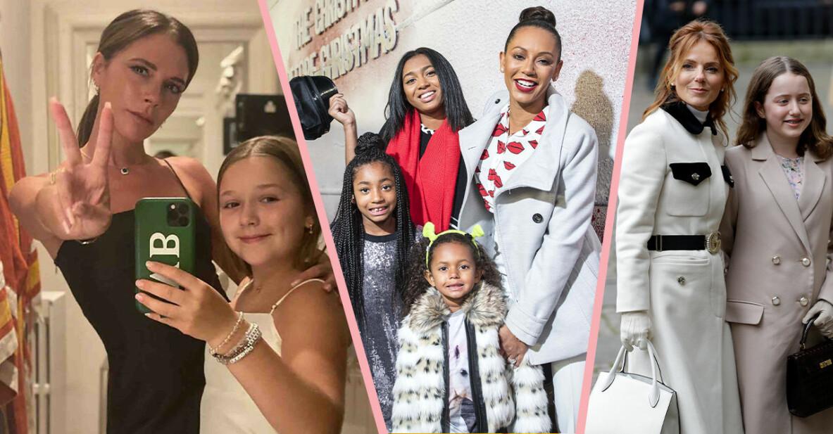 Victoria Beckham med dotter, Melanie Brown med döttrar och Geri Halliwell med dotter