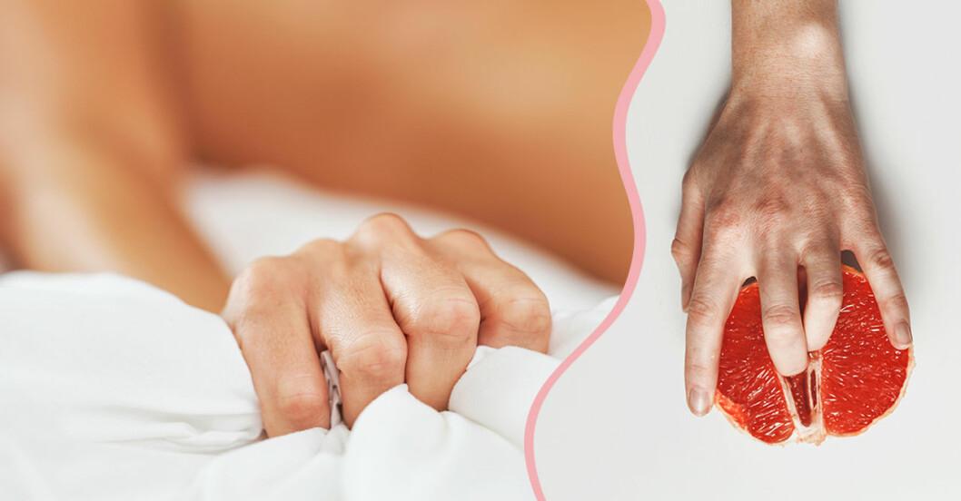 Till vänster: Hand som kramar åt lakanet i sängen. Till höger: Fingrar i en grapefrukt.